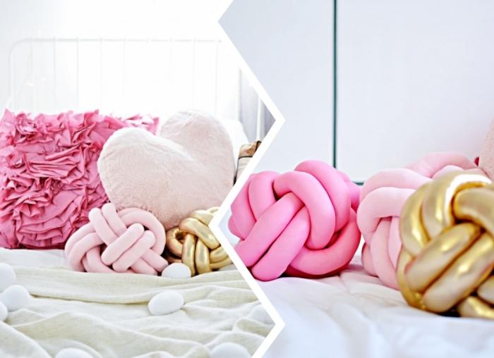déco chambre cocooning, comment faire des coussins en forme noeud avec tissu rose et fibres polyester