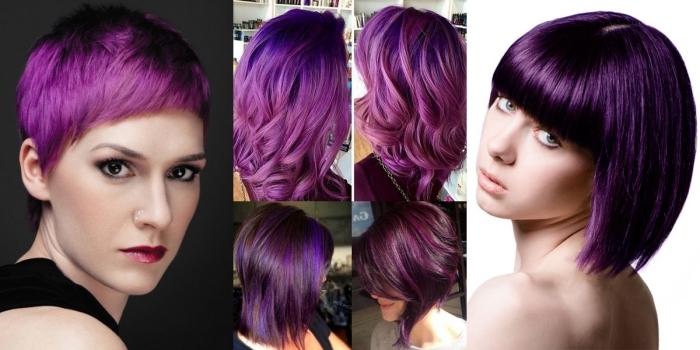 idée pour une coiffure aux cheveux violine, coupe courte dégradé avec frange droite, coupe cheveux mi-longs avec mèches violet