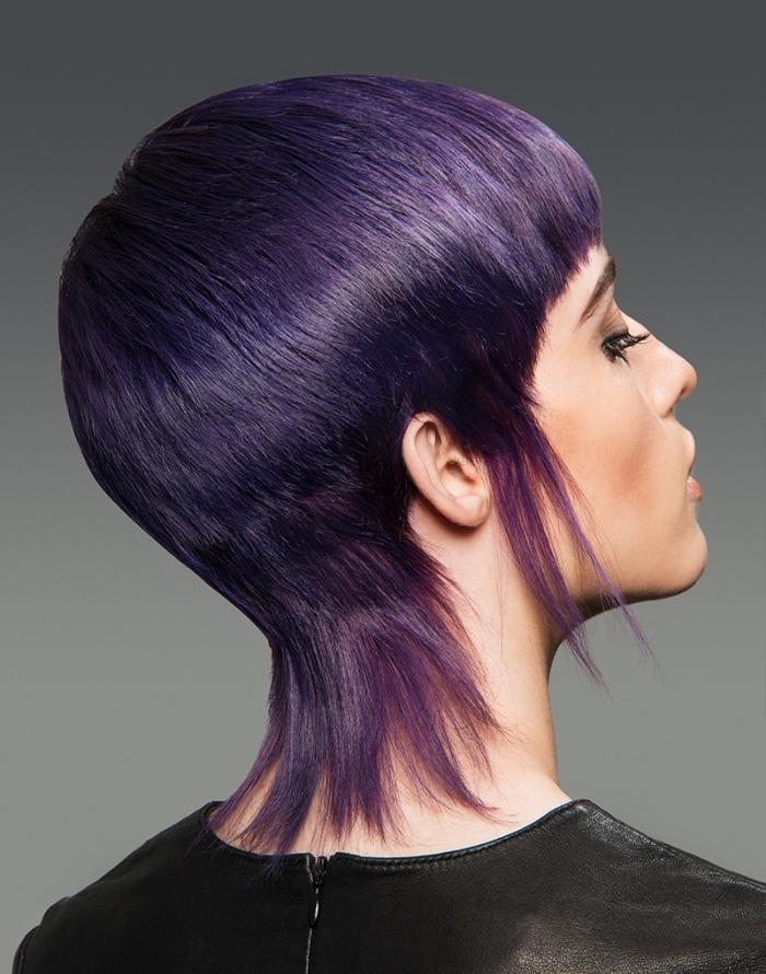 idée coiffure cheveux courts pour femme, coloration tendance 2018 de nuance violet prune