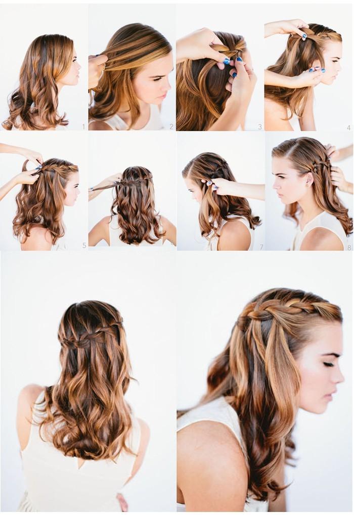 coiffure avec tresse, tutoriel avec photos pour réaliser une coiffure sur cheveux longs et bouclés