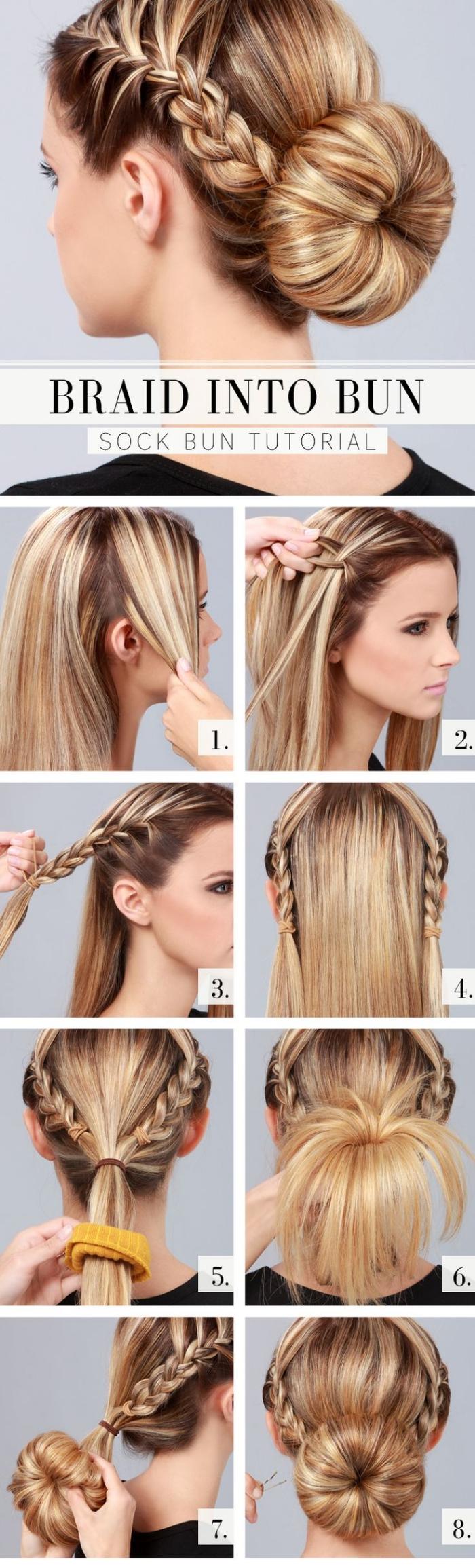 coiffures faciles, modèle de coiffure avec tresse collée de côté et chignon bas sur cheveux marron avec mèches