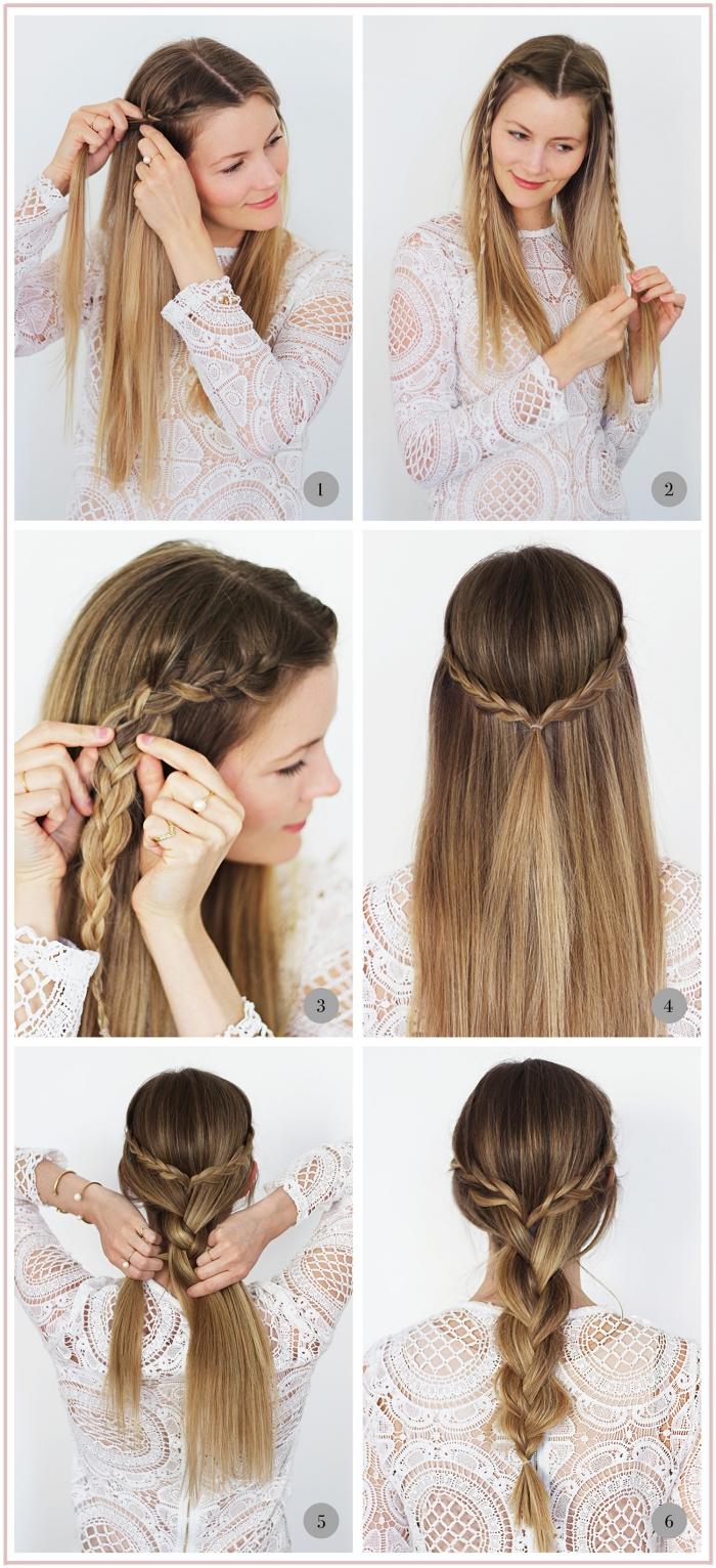tuto tresse, étapes à suivre pour faire une coiffure romantique en cheveux tressés, couleur de cheveux châtain clair