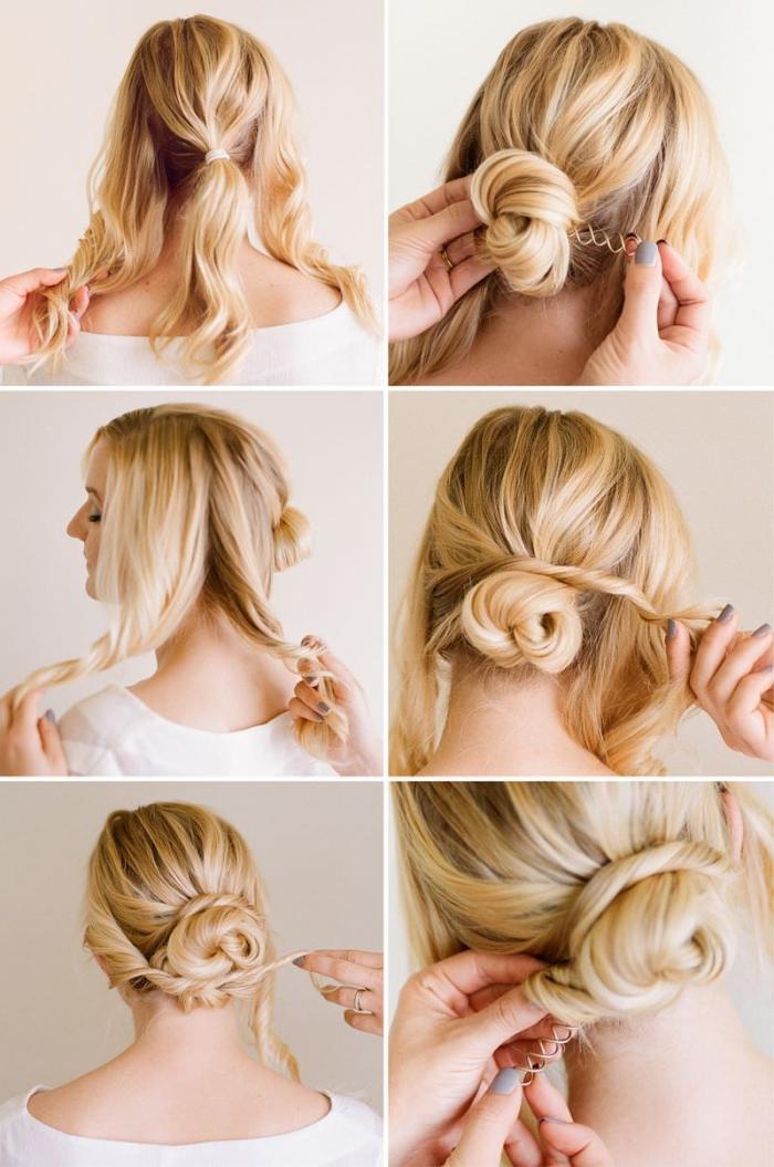 modele de coiffure, cheveux de base châtain clair avec mèches blondes en chignon de mèches torsadées