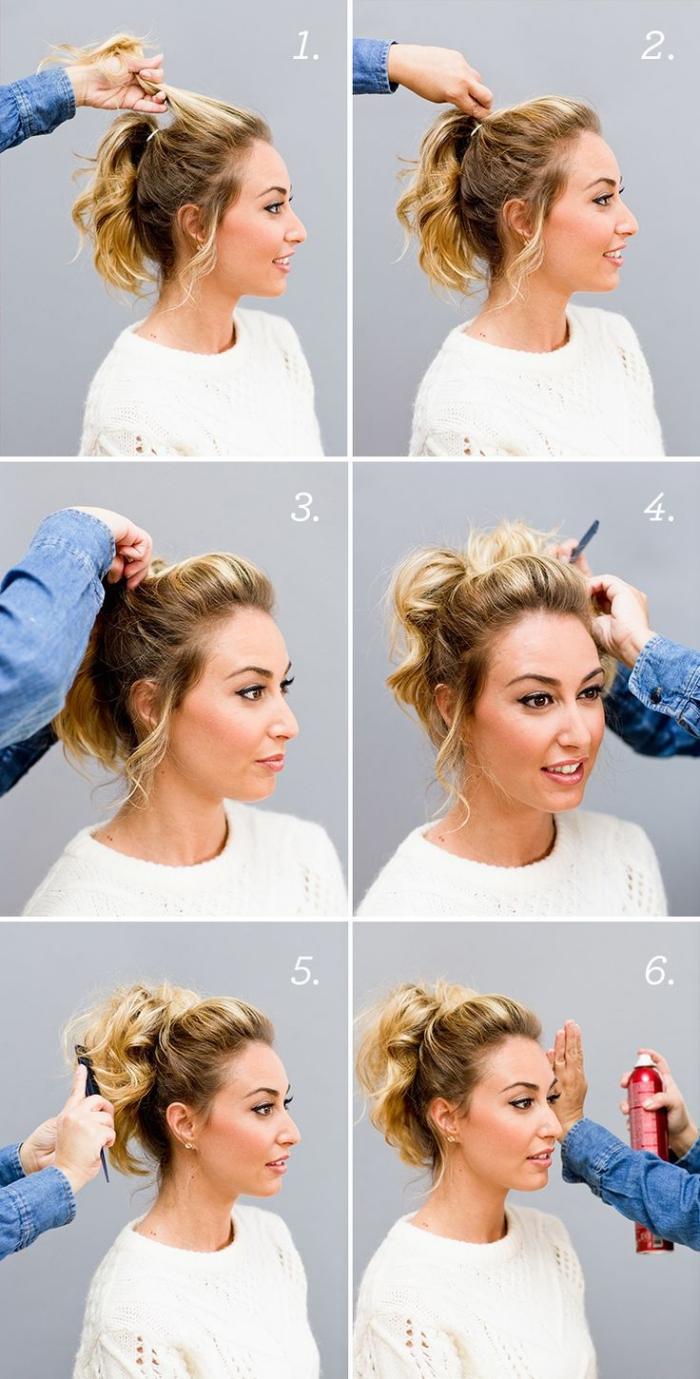 tuto coiffure facile, étapes à suivre pour faire une queue de cheval volumineuse avec mèches devant