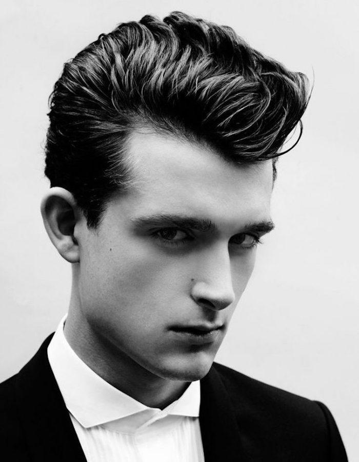 coupe banane retro homme, coiffure rockabilly quiff style année 50