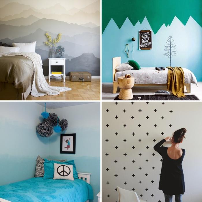 idée déco chambre cocooning aux murs diy en peinture ou stickers autocollants, déco chambre fille avec meubles en bois clair