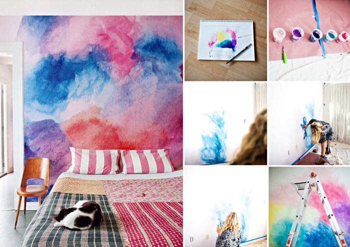 tutoriel pour apprendre comment peindre les murs blancs avec la technique aquarelle, chambre d ado aux murs colorés