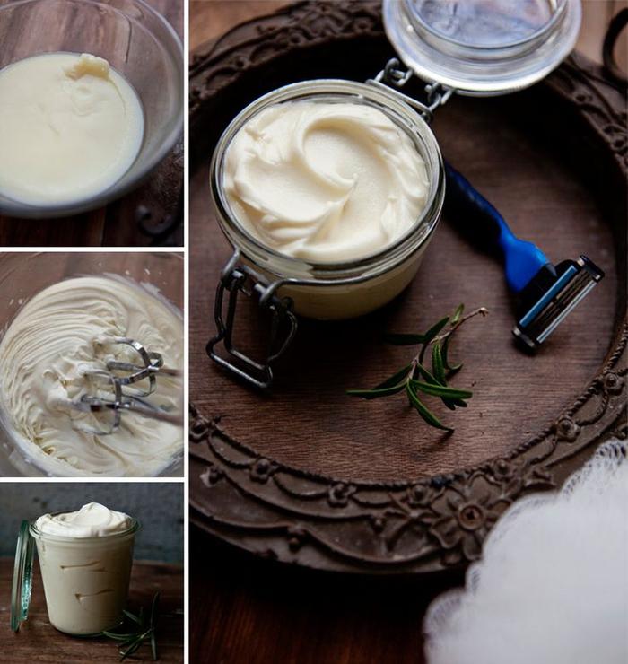 recette de crème à raser faite maison menthe et romarin, un cadeau st valentin original à faire soi-même