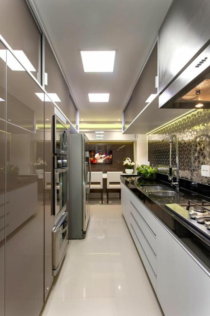 meubles de cuisine, cuisine en longueur, couleurs argent, surfaces brillantes, plafond blanc avec des carres luminescents
