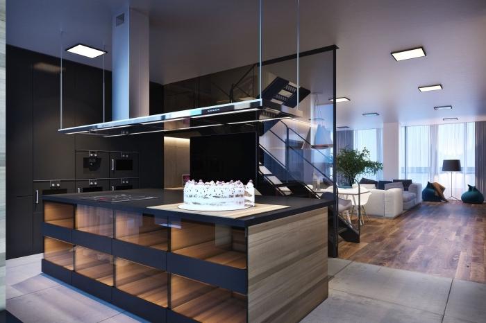 verriere cuisine, décoration d'intérieur moderne en couleurs foncées matte, cuisine noire et bois avec séparation en verre