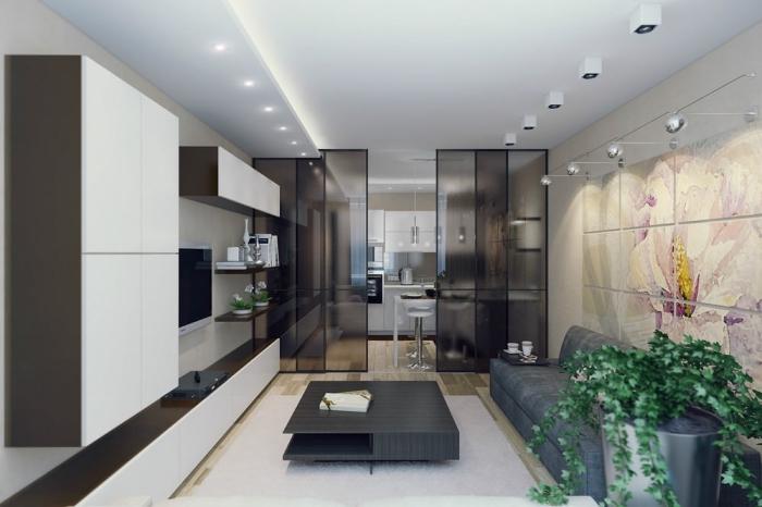 cuisine semi ouverte, comment diviser les pièces avec séparation en verre, aménagement salon en table basse et canapé gris