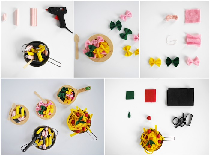 activité montessori avec pasta en papier et en feutrine, comment faire la cuisine enfant, idée d apprentissage ludique