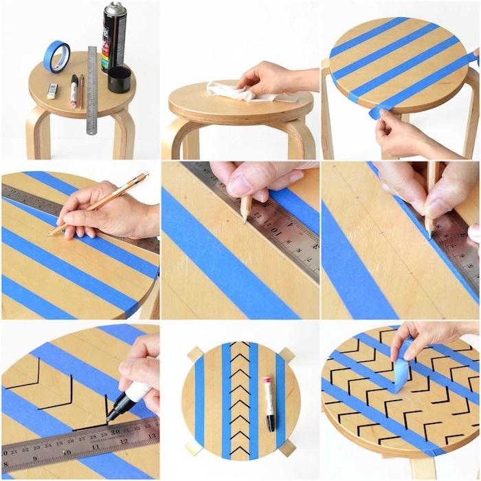 tabouret en bois transformé en table basse customisé de motifs geometriques dessinés à l aide du technique utilisant du washi tape deco