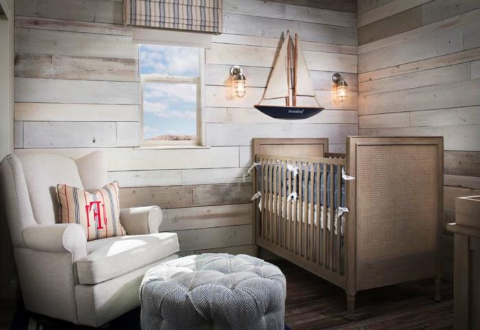 décorer la chambre de l'enfant, parement mural en bois, appliques murales