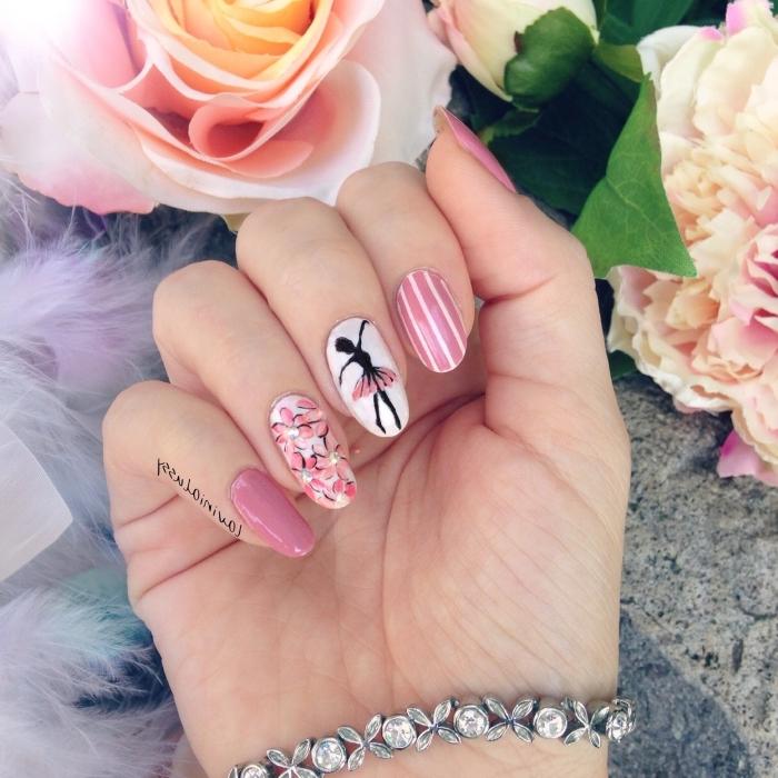 nail art idée à design ballerine avec ongles de couleur rose et décoration florale sur l'annulaire