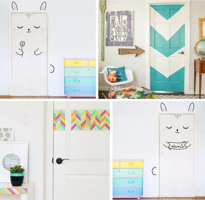 comment décorer la porte avec washi tape, deco chambre ado aux murs blancs avec armoire peinte en jaune et vert