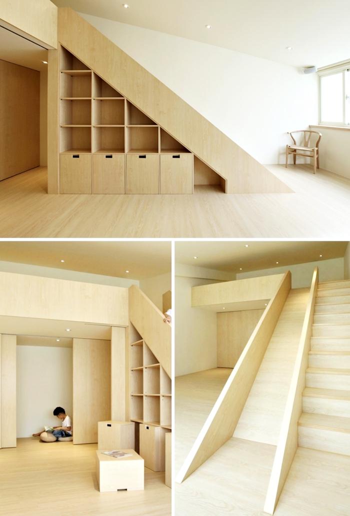 idée aménagement chambre enfant avec un lit mezzanine et rangement sous escalier de bois