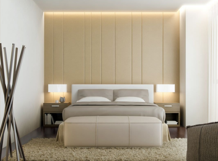 intérieur moderne et luxueux dans chambre a coucher adulte avec revêtement partiel de mur en cuir beige