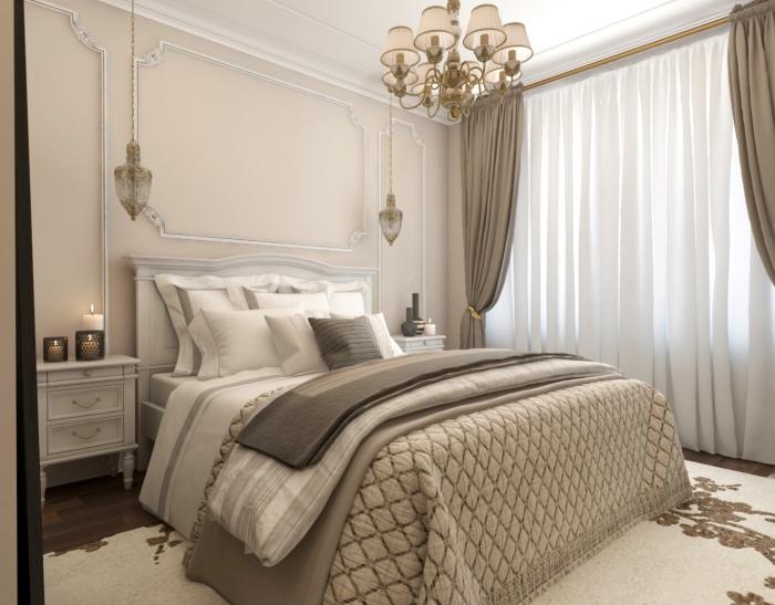 meuble chambre de bois peint en gris avec un lit kingsize avec ête à imitation cheminée blanc et gris clair