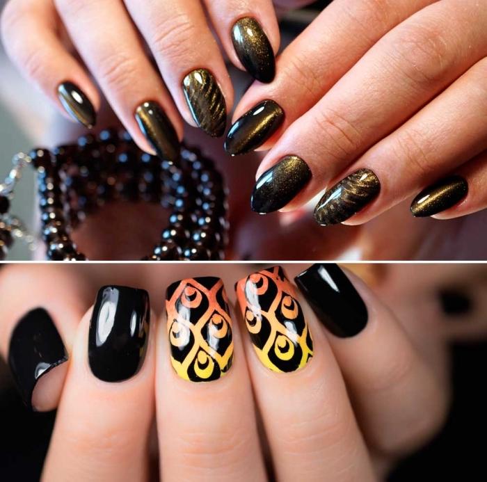 comment décorer les ongles mi-longs de base foncée, la pose ongle gel vernis sans extensions de couleur noir