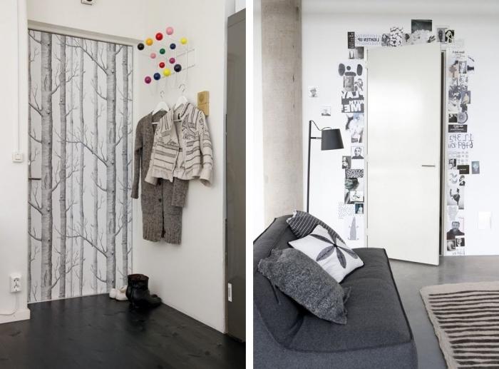 comment décorer la porte dans la chambre d ado fille, papier peint et coupures de journaux pour décorer les murs et la porte
