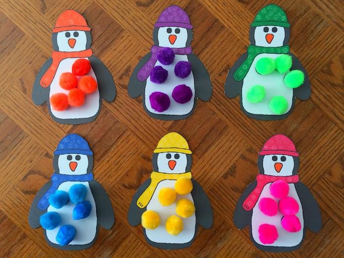 apprendre à distinguer les couleurs, pingouins aux chapeaux et écharpes de couleurs diverses et pompons colorés à ranger dessus