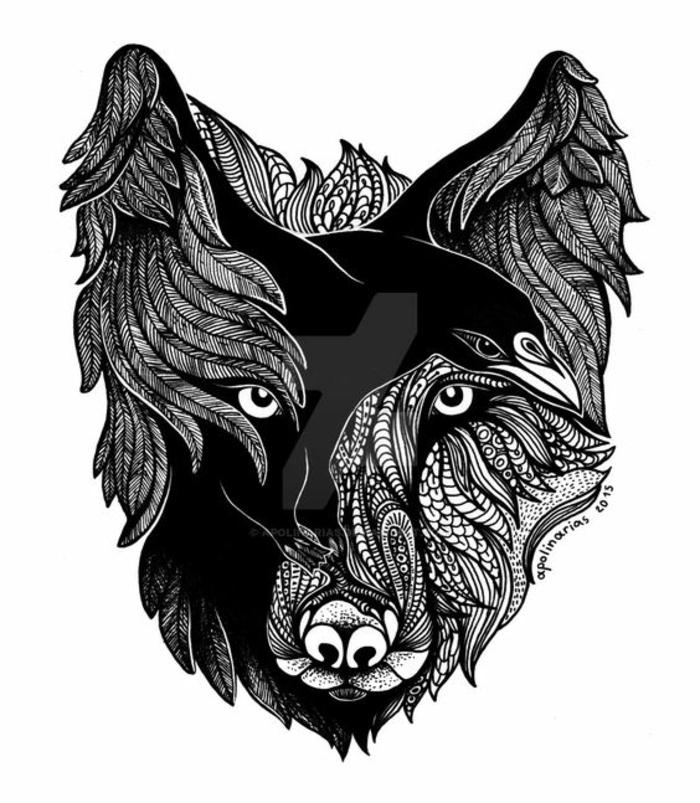 Dessin nordique tatouage signification force tatouage animal géométrique motif