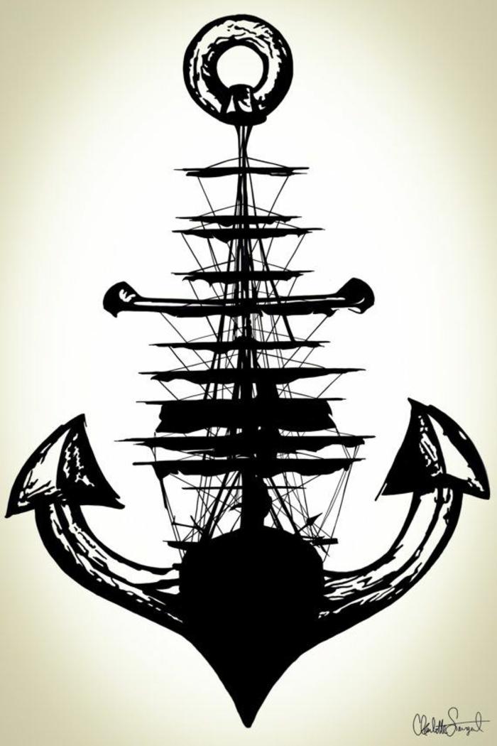 Dessin silhouette de bateau plus beau tatouage catalogue de tatouage homme idées