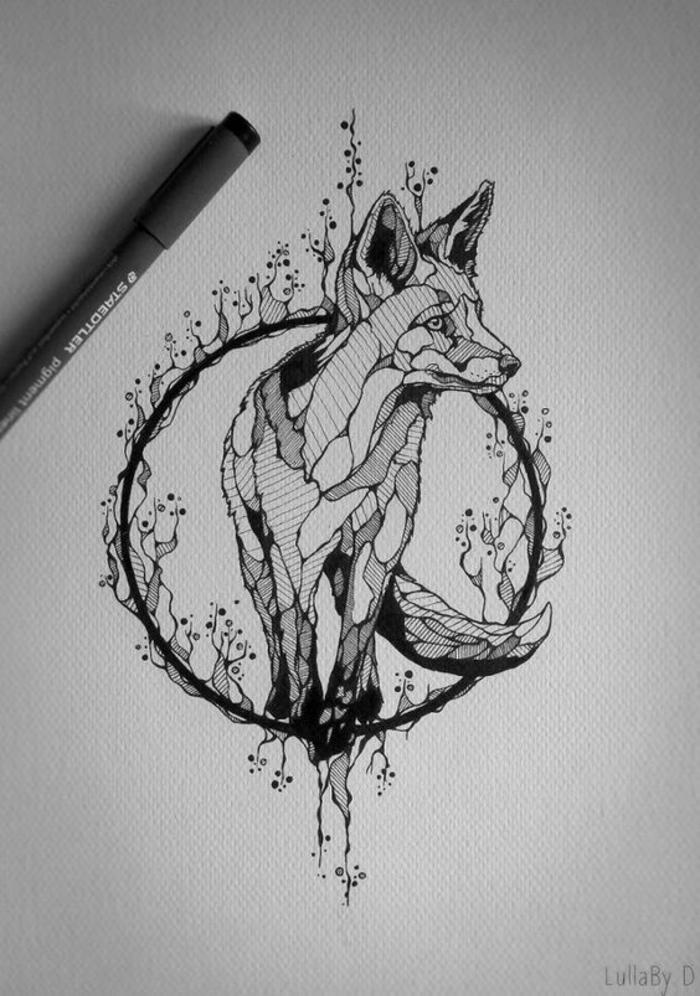 Tatouage avant bras femme tatouage femme epaule dessin renard dans cercle