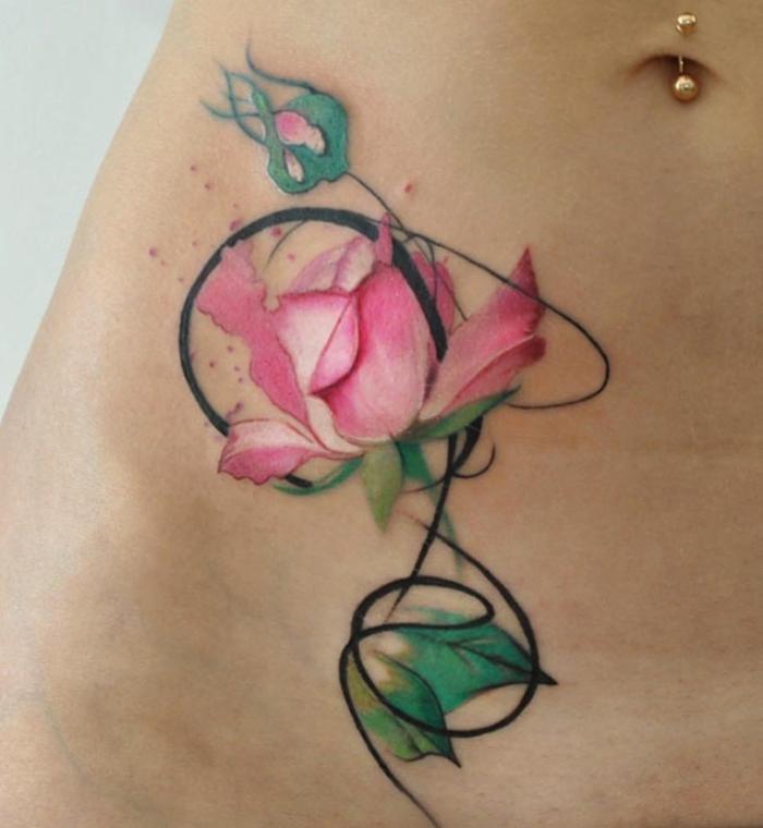 Catalogue tatouages les plus beau tatouage idée tattoo fleur rose coloré tatouage