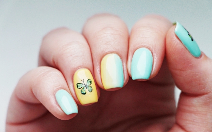 comment faire une manucure en couleur pastel, ongles gel à design ombré en jaune et vert avec dessin papillon