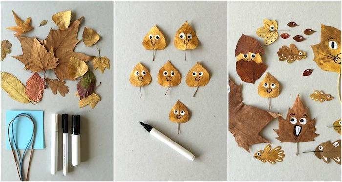 dessin sur des feuilles mortes à l indélébile, idée d activité manuelle primaire selon la méthode montessori