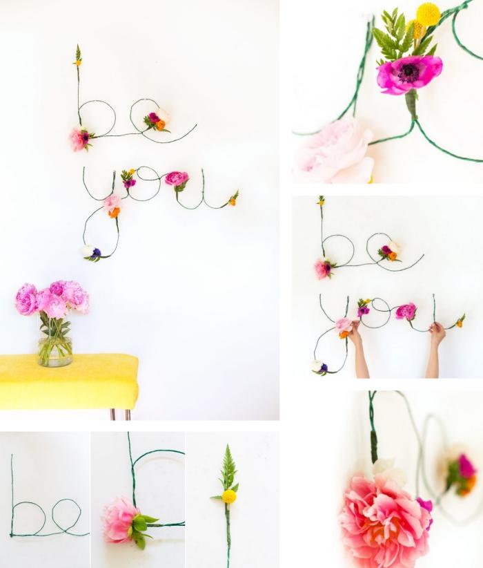 décoration pour la chambre ado fille en formes de lettres en fil et design floral, comment faire une décoration avec fleurs fraiches
