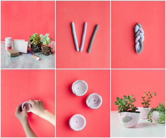 pate fimo tuto pour faire un cache pot en blanc, gris et rose à effet marbre avec des plantes vertes à l intérieur