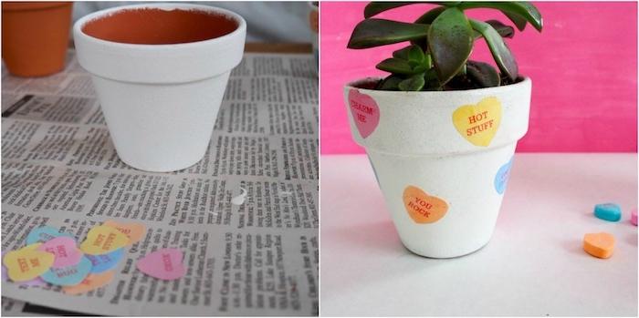 diy pot de fleur repeint en blanc customisé à motif coeurs colorés avec plante succulente dedans, diy cadeau st valentin pour elle