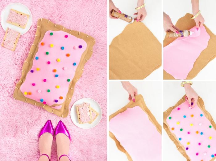 idée déco chambre ado fille a faire soi meme, coussin à design donut fabriqué de tissu rose et marron et décoré avec petits pompons
