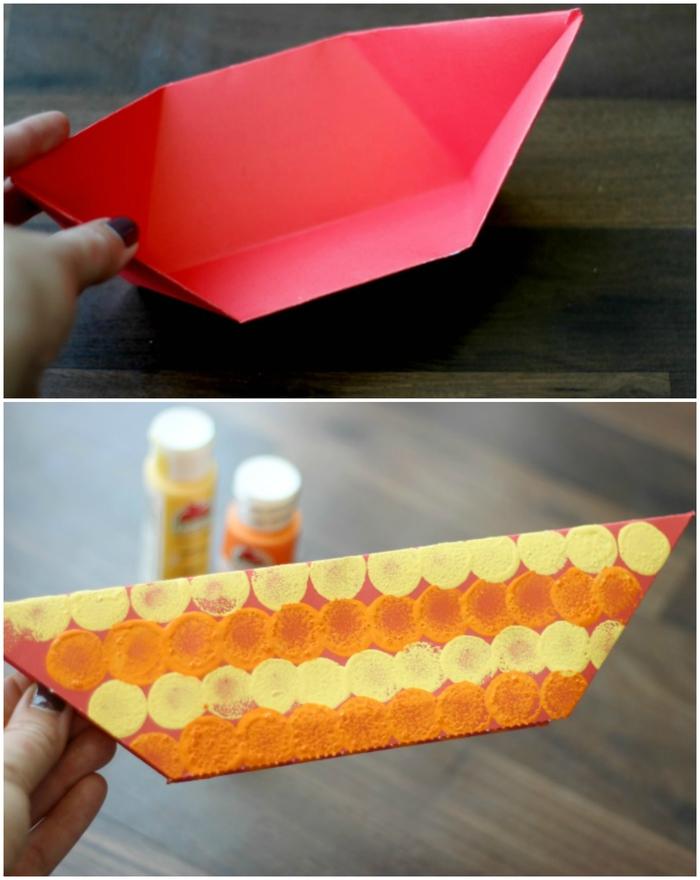 modèle de bateau origami simple et facile à plier décoré façon dragon chinois avec une tête de dragon à imprimer et à colorier