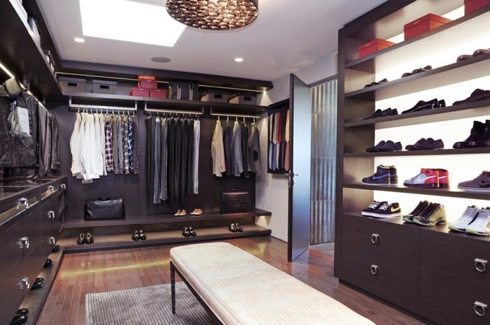 dressing chambre, grand banc blanc, range-chaussure vertical et armoire penderie en L