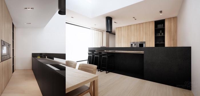 conception moderne de cuisine avec meubles en bois clair et ilot central noir, modèle de plafond suspendu avec éclairage led