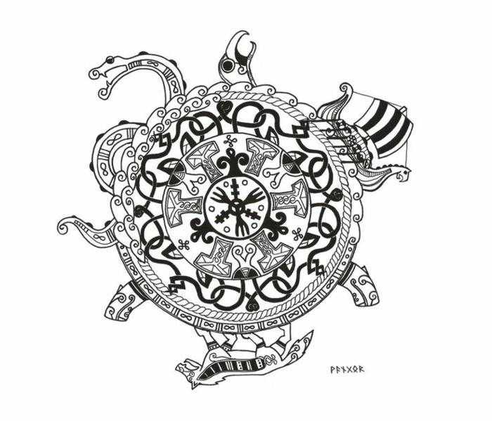 Le tatouage représentant la force viking tatou idée ronde tatouage originale