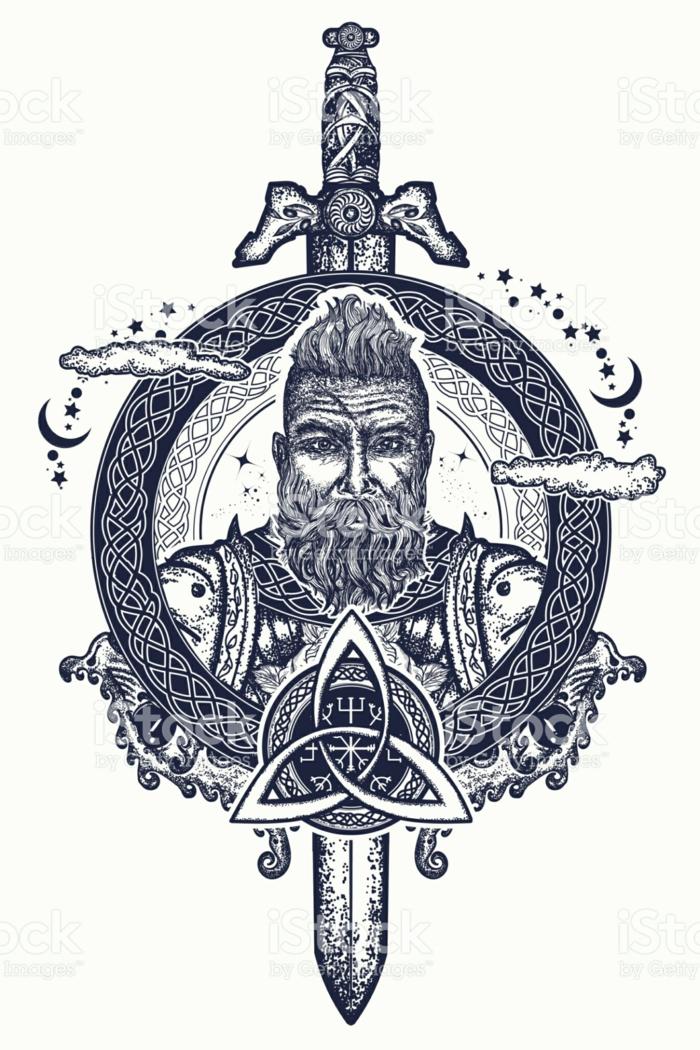 Idée tatouage rune viking symbole viking tatouage sable et viking portrait