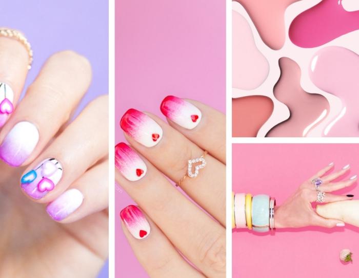ongle manicure tendance pour la fête de la Saint Valentin, la technique de nail art ombré en couleur blanc et rouge