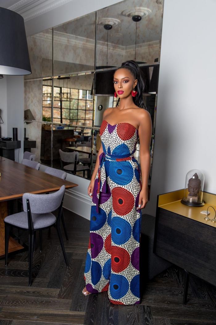 style vestimentaire femme élégante en combinaison bustier, tenue africaine ensemble pantalon fluide avec ceinture