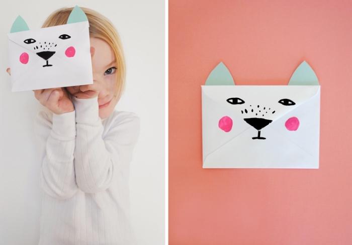 comment faire une enveloppe en papier, activité créative pour les enfants, idée comment décorer l'enveloppe blanche