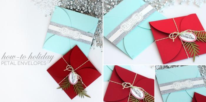 enveloppe origami, modèle d'enveloppe pour les cartes de Noel à fabriquer en papier coloré rouge et bleu