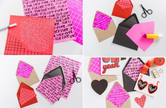 faire une enveloppe avec une feuille a4, modèle d'enveloppe DIY à design fashion avec papier coloré et stickers adhésifs