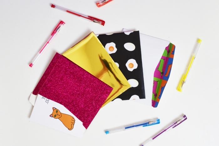 faire une enveloppe avec une feuille a4, idée pour faire une surprise en papier coloré et design amusant