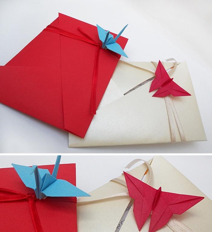 idée pour faire une enveloppe avec papier blanc et rouge en utilisant la technique de pliage origami
