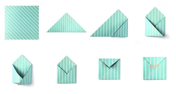 tutoriel avec les étapes de pliage papier, comment faire une enveloppe carrée en papier coloré vert et blanc