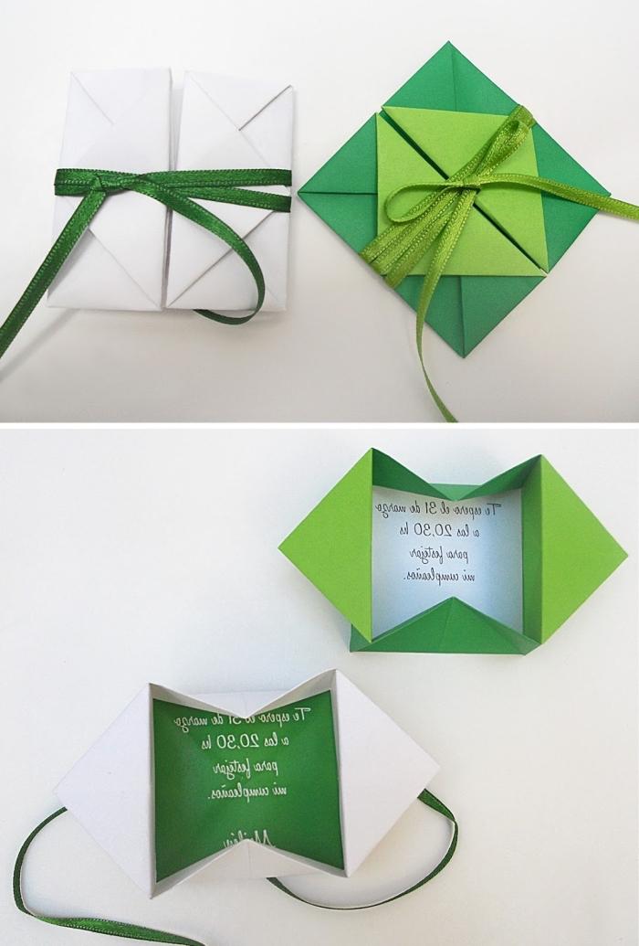 technique de pliage origami, comment faire une enveloppe origami en papier coloré vert avec ruban